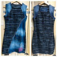 Desigual Denim Dress Size 36 Uk 8 US 4 Blue Navy Arty Quirky Mini Shift
