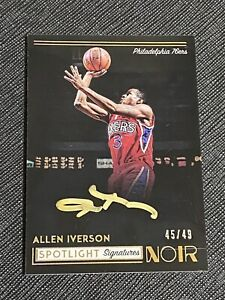 2018 NOIR Allen Iverson Spotlight Signatures Gold Ink Auto Card /49 NOT PERFECT