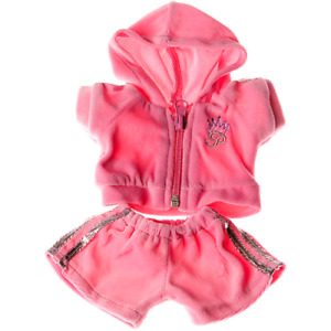 8-10 inch Pink Jogging Outfit - teddy bear stuffed animal clothes hoodie shorts
