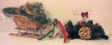 Christmas Centerpieces Wicker Sleigh & Indiana Glass Ivy Bowl Candle Make Offer!