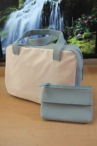 2pc Estee Lauder White Sky Blue Faux Suede trim Cosmetic Skincare Case Bag purse