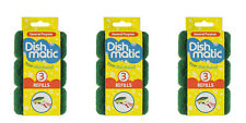 9x Heavy Duty Dishmatic Green Refill Cleaning Dishes Sponges