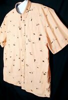Vans off The Wall Mens Size XXL Short Sleeves Button Shirts Orange Casual wear