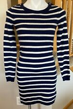 Banana Republic XS Navy Blue Striped Wool Cashmere Mix Long Sleeve Sweater Dress