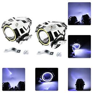 2x 125W U7 Motorcycle  LED Headlight Driving Spotlight Fog Lights White+Blue