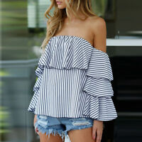 Women Ladies Flare Sleeve Off Shoulder Striped Ruffles Casual Blouse T-Shirt HK