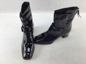 Stuart Weitzman Discoboot Black Patent Ankle Booties Size 6  H1192/