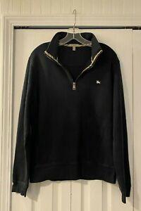 Burberry Navy Blue Cotton Logo Nova Check 1/4 Zip Pullover Sweatshirt M