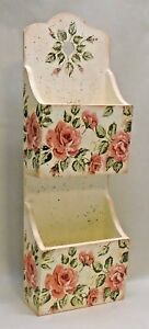 Wood Decoupage Mail Holder, Wall-Mounted, Vintage Roses, Shabby Chic