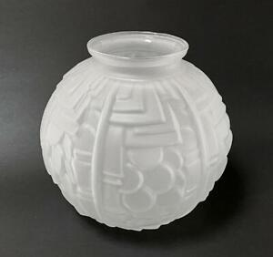 FRENCH ART DECO FROSTED GLASS VASE 1920s ANTIQUE GEOMETRIC DESIGN