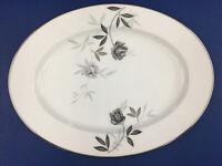 """Noritake Rosamor 5851S Gray Roses Platter 13-5/8"""" By 10-1/4"""" & 1-3/8"""" Deep B24"""