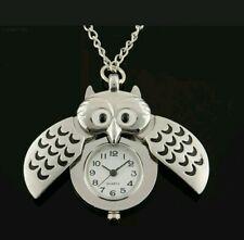 Lady Wife Retro Vintage Gift Newyear Owl Watch Necklace Birthday Christmas Men