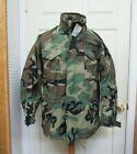 US GI Woodland Camo M65 Field Jacket BDU Cold Weather Coat Golden Mfg Large Long