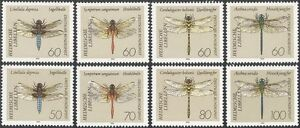Germany 1991 Dragonflies/Insects/Nature/Conservation/Dragonfly 8v set (n43655)