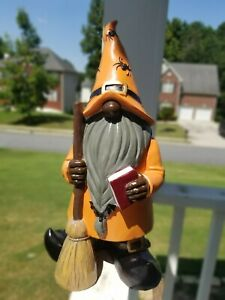 "16.5"" Black/African American Halloween Standing Gnome With Broom"