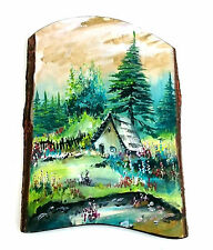 Wooden Wall Hanging handmade home decoration , image from a cottage in the woods