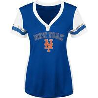 $50 New York Mets Womens Royal Blue Team Fashion V-neck Short Sleeve Shirt Top
