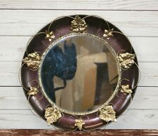 Vintage Circular Wall Mirror with Crimson & Gold Wrought Iron Frame + Leaves