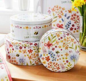 Set of 3 BEE HAPPY ROUND Floral CAKE STORAGE TINS Biscuits Sweets Caddies