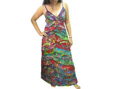 Peasant Boho Hippie Tier Ruffle Patchwork Spaghetti Strap Long Dress  D0224A