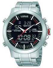 NUOVO rw601ax9 Lorus Gents Dual Display Orologio Cronografo in Acciaio Inox