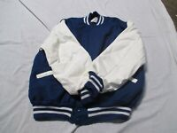 DELONG ADULT ROYAL BLUE WITH TWO WHITE STRIPES QUILT LINED SCHOOL LETTER JACKET