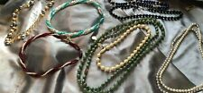 beads pearls enamel hard plastic Vintage lot jade necklaces chokers seed