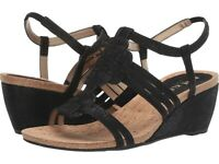 Anne Klein Tilly Wedge Sandal, Black, Size 8 M, NIB