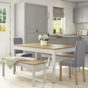 Grey & Solid Pine Dining Table & 2 Grey Chairs & 2 Benches -  BUN/EMR002GA/77187