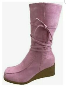 KOI FOOTWEAR FAUX SUEDE PINK WEDGE BOOTS 2 DIFFERENT STYLES SIZES UK 6 AND 7