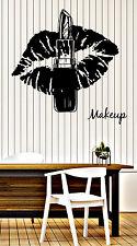 Wall Vinyl Decal Make Up Lipstick Luscious Lips Beauty Salon Decor z4844