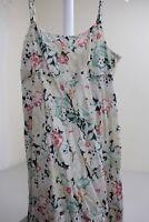 Halogen 100% Cotton Multi-Colored Floral Pleated Spaghetti Strap Tea Dress Med