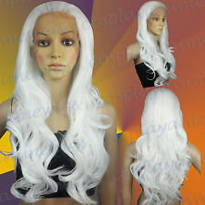 70cm White Heat Styleable Lace Front Wavy Long Cosplay Wigs S_101
