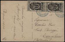 1934 - Cartolina resa franca con coppia cent.10  Annessione di Fiume - n.350