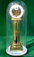 WHITE MARBLE GLASS DOME 8 DAY COLUMN SPRING FUSEE MANTLE CLOCK
