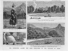 1884 Antique Print -  INDIA ASSAM Akha Marauders Midi Tribe Dejoo Military  (83)