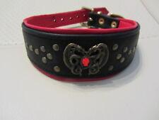Très beau collier de luxe pour chiens cuir noir/rouge T: 41cm X 5cm