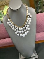 "Vintage White Dangle Chunky Lucite large beaded bib statement necklace 18"" Long"