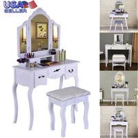 princess Vanity Makeup Table Dresser Desk Set Mirrors & Stool & Drawer White USA