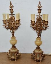 antica coppia di candelabri Napoleone III 1870 in marmo e antimonio francese