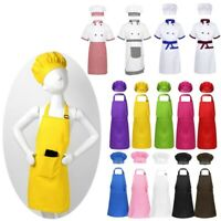Kids Apron Chef Hat Boy Girl Kitchen Plain Fancy Dress Cooking Baking Painting