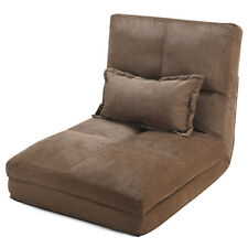 Fold Down Chair Flip Out Lounger Convertible Sleeper Couch Futon Bed w/ Pillow