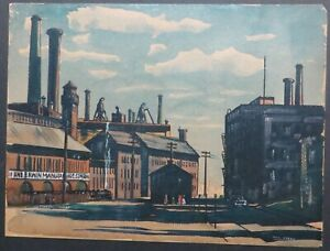 Painting by Phil Stone Silkscreen Print of an industrial landscape