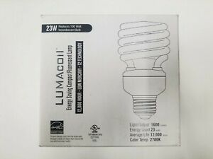 Lot of 4 Lumacoil Energy Saving Compact Fluorescent 23W Bulb 12,000 HOURS 1600 L