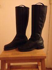 Stiefel Schwarz Leder Blockabsatz Gr 37