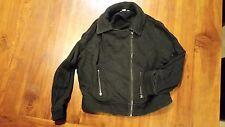 Jay Jays Black Cotton zip up collar jacket sz10 preowned free post E3