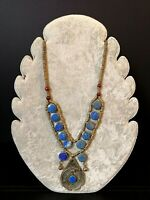 Beautiful Antique Early 1900s Tribal Lapis Lazuli Silver Ethnic Necklace Afghan