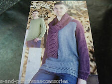 Wendy Double Knit Pattern 5986 Mens Saddle Shoulder Sweaters 97-127 cm