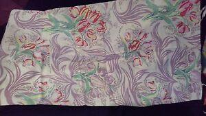 vintage fabric pillowcase cotton tulip floral flower spray bunch quilting craft