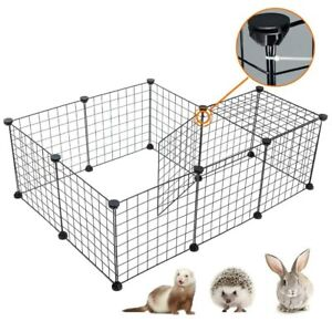 """14""""Portable Metal Dog Pet Playpen Crate Animal Fence Exercise Cage W/Door 10 Pcs"""